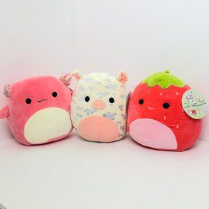 Lot of 3 Squishmallows Axolotl Pig Strawberry